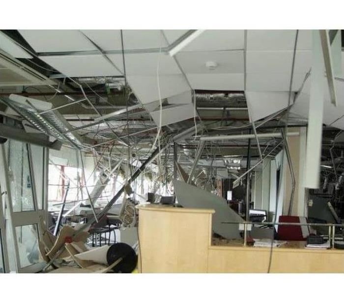 Office damage from a tornado